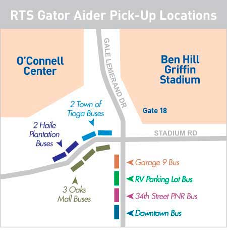 Gator Aider Stadium Pickup Locations