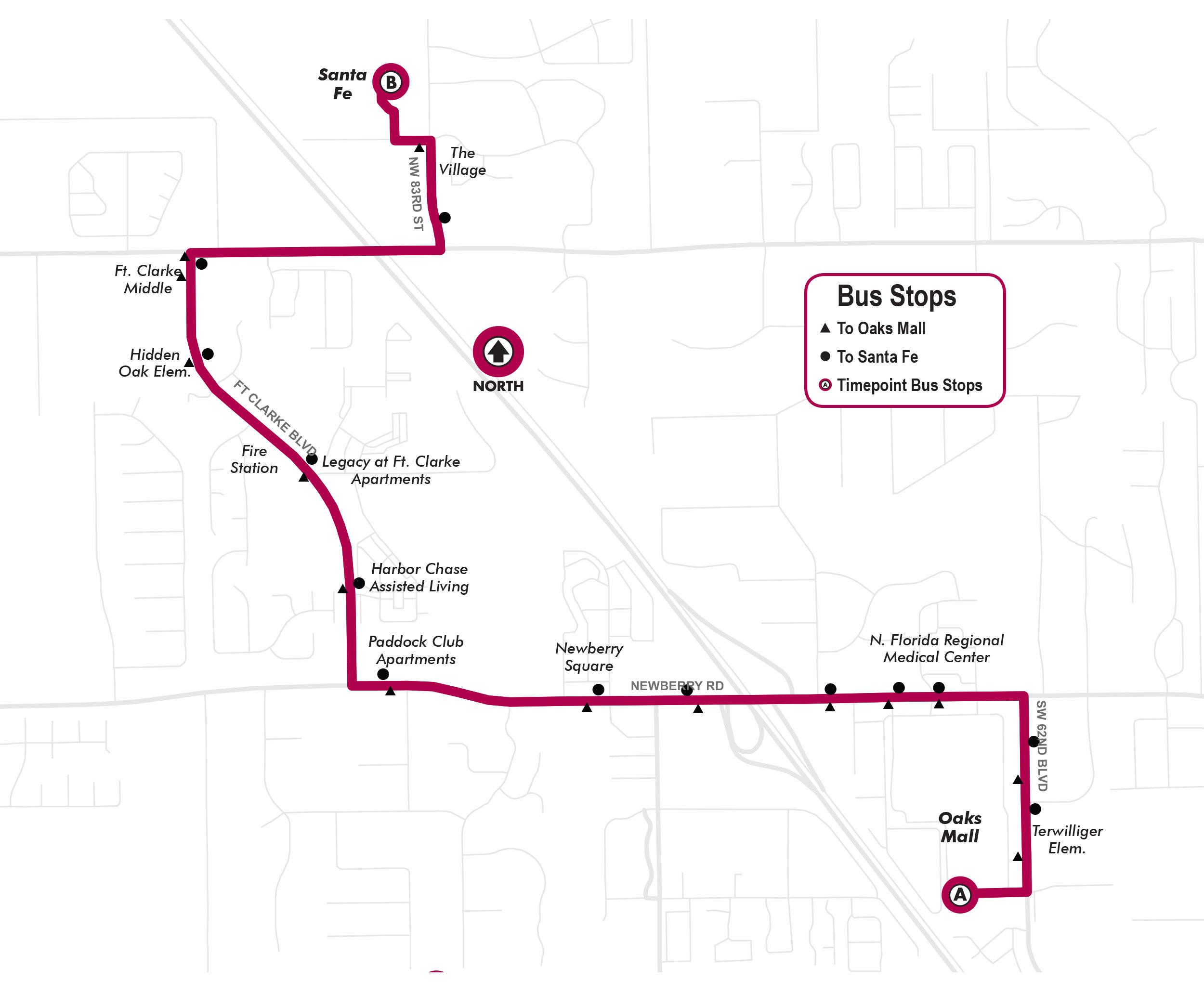 Route23) Oaks Mall to Santa Fe via Ft  Clarke Blvd  - Go-RTS
